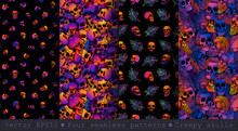 Four Seamless Patterns With Be...
