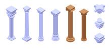 Pillar Icons Set. Isometric Set Of Pillar Vector Icons For Web Design Isolated On White Background