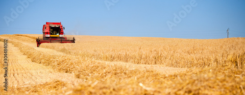 Leinwand Poster Moissonneuse dans les champs de blé en France