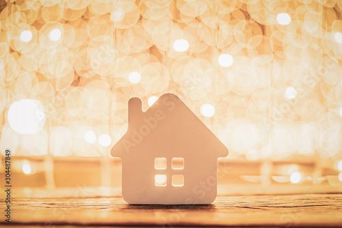 House model on wood table Canvas Print