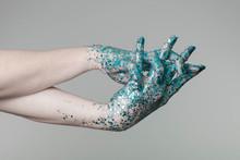 Beautiful Woman Hands With Blu...