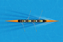 Four Racing Shell With Mixed Paddlers For Rowing Sport On Water Surface. Four Paddlers Mixed Race. Woman And Man And Inside Boat. Top View. Vector Illustration