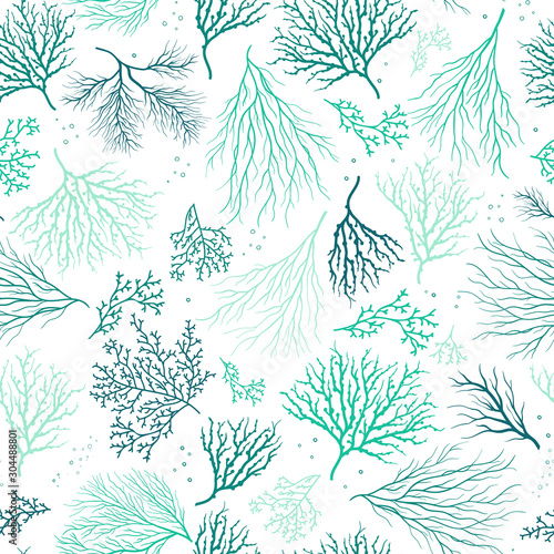 Obraz na plátne Beautiful Hand Drawn corals seamless pattern, underwater background, great for t