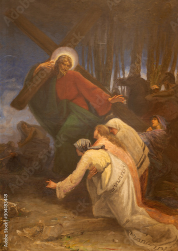 COMO, ITALY - MAY 8, 2015: The painting - Simon of Cyrene helps Jesus carry the cross in church Santuario del Santissimo Crocifisso as the part of Via Crucis by Pnziano Loverini (1917).