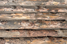 Texture Of Old Wooden Logs.