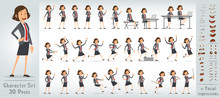 Cartoon Funny Cute Office Girl Character In Blue Suit With Red Tie. 30 Different Poses And Face Expressions. Isolated On White Background. Big Vector Icon Set.