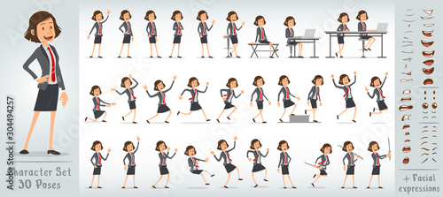Pinturas sobre lienzo  Cartoon funny cute office girl character in blue suit with red tie
