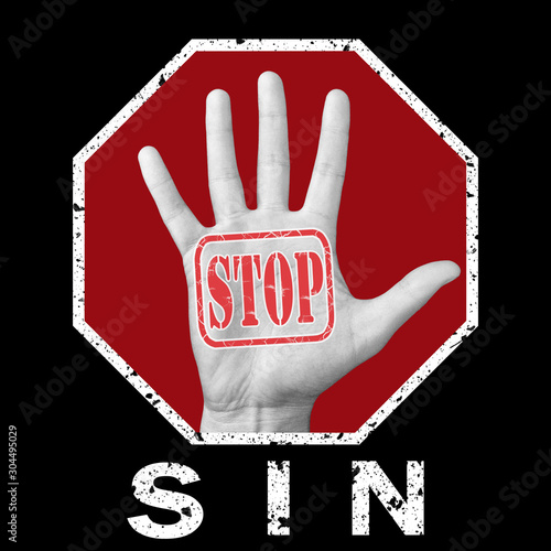 Photographie Stop sin conceptual illustration. Global social problem
