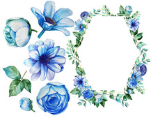 Watercolor Designs With Blue Flowers.