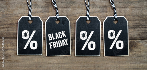 Fotomural  Black friday and black week hang tags and cubes
