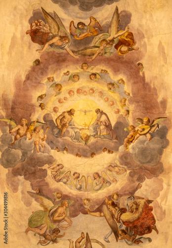 COMO, ITALY - MAY 11, 2015: The ceiling fresco of Holy Trinity in church Chiesa di San Orsola by Gian Domenico Caresana (1616).