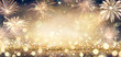 canvas print picture Golden Glitter Background With Fireworks In The Night
