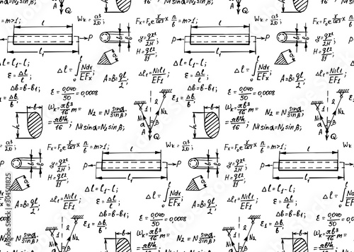 Retro physics seamless pattern with the equations, figures, schemes, formulas and other calculations on whiteboard Canvas Print