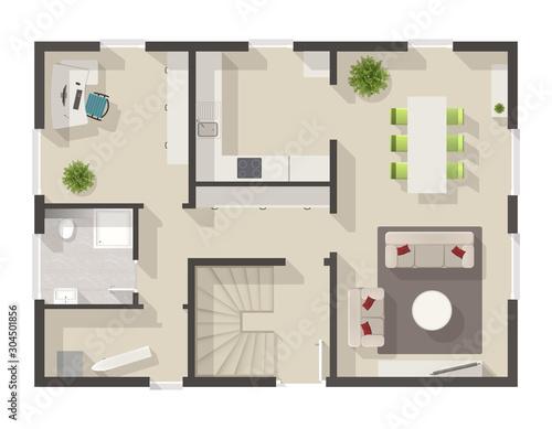 Obraz detailed floor plan with interior design - fototapety do salonu