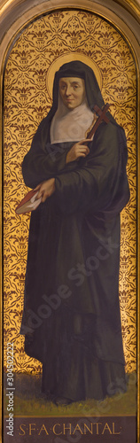TURIN, ITALY - MARCH 13, 2017: The painting of St. Jane Frances de Chantal in church Chiesa di Santo Tomaso by unknown artist from and of 19. cent.