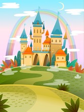 Cute Cartoon Castle. FairyTale...