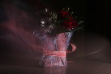 Vibes, The Spirit Of A Bouquet, Aroma, Soaring Over Multi-colored Bright Flowers. A Bouquet Shot With A Long Exposure On A Dark Background And Blurred In Space.ht Flowers.