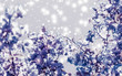 Christmas, New Years purple floral nature background, holiday card design, flower tree and snow glitter as winter season sale backdrop for luxury beauty brand