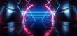 Sci Fi Futuristic Schematic Chip Virtual Neon Laser Triangle Shaped Lines Glowing Purple Blue Tunnel Corridor Concrete Dark Night Stage Cyber 3D Rendering