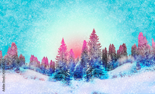 Foto auf AluDibond Turkis Winter landscape snowy trees beautiful sunset fanciful frosty trees Christmas trees