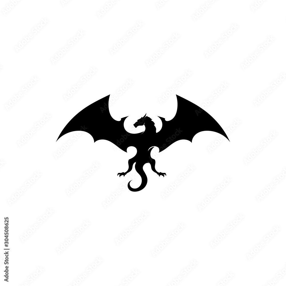 Fototapeta Head dragon flat color logo template vector illustration