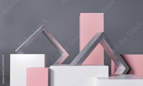 Fotografie, Obraz Podium, exhibition pedestal - 3d render illustration