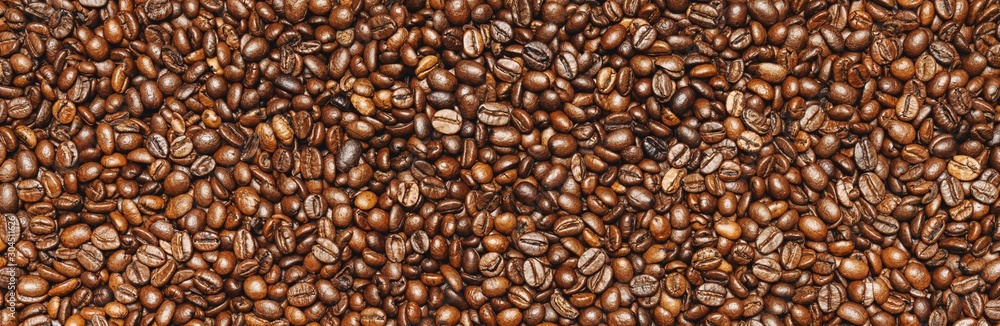 Fototapety, obrazy: Roasted coffee beans background texture or backdrop, banner size