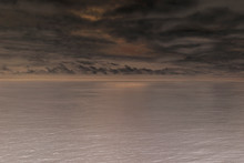 Dark And Moody Clouds Over Calm Ocean Surface