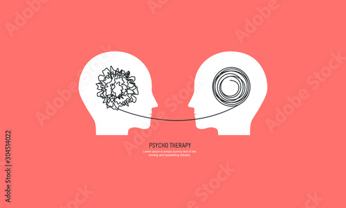 Stampa su Tela Two humans head silhouette psycho therapy concept