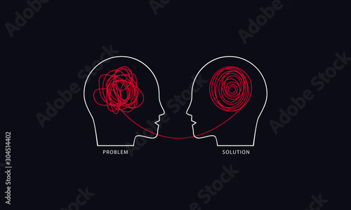 Fotografia, Obraz Two humans head silhouette psycho therapy concept