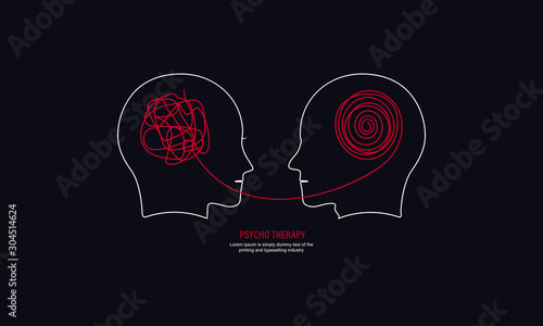 Two humans head silhouette psycho therapy concept Fototapet