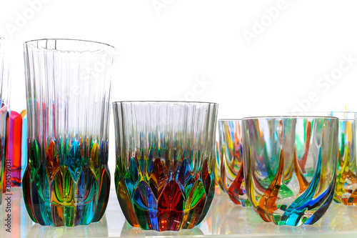 Colorful Murano water glasses set from Venice Italy Wallpaper Mural