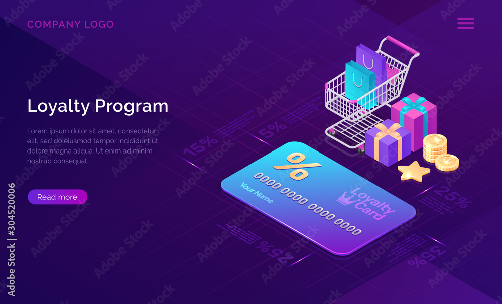 Fototapeta Loyalty program, vector isometric concept. Big discount card with percent, shopping cart and gift boxes and cash coins icons on ultraviolet background. Online service with collecting points