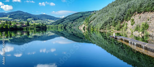 Dorlay reservoir collecting water from Dorlay river in French Auvergne-Rhone-Alpes region Canvas Print