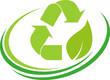Recycling Pfeile, Blatt, Recycling und Umwelt Logo