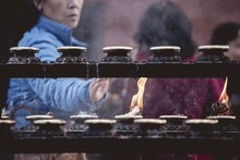 Closeup Shot Of People Burning...