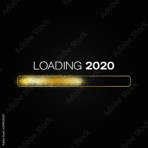 Cuadros en Lienzo  loading bar in gold with the message loading 2020
