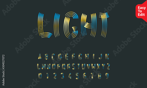 glowing blue yellow light painting alphabet vector Canvas Print