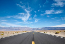Scenic Empty Desert Road In Th...