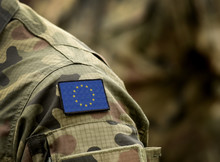 The Flag Of Europe On Military...