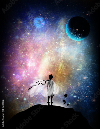 Little prince and rose silhouette art photo manipulation - 304530026