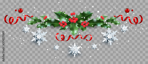 Fotobehang - Decorative border with holly and snowflakes