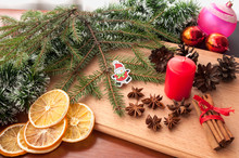 Christmas Composition - Cones, Dried Orange, Anise, Cinnamon. On Wooden Background.