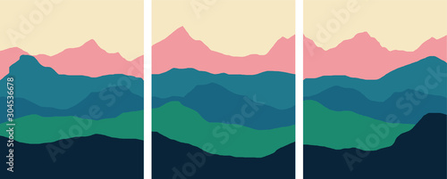 Set of vertical backgrounds or card templates with abstract mountains or hills of blue vivid colors Canvas-taulu