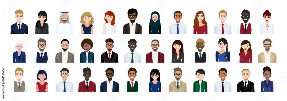 Fototapeta Business people cartoon character head collection set. Businessmen and businesswomen in office style on white background. Flat vector illustration
