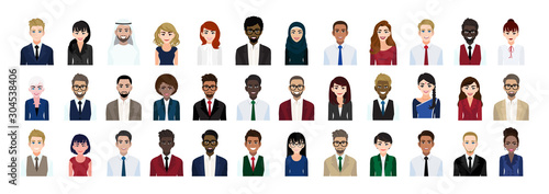 Canvastavla  Business people cartoon character head collection set