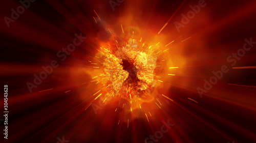 Cuadros en Lienzo explosion fire abstract background texture