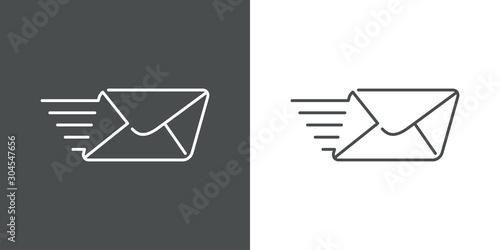Fotomural  Icono plano lineal símbolo mandar mensaje con sobre con velocidad en fondo gris