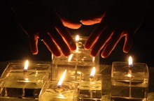High Angle Shot Of A Person Performing Psychic Abilities To Light Candles