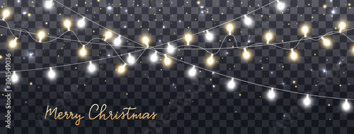 Photo  Christmas lights isolated on dark transparent background
